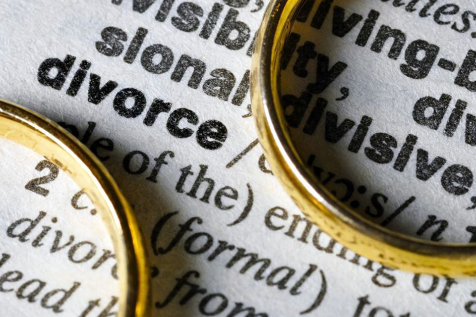 Two wedding rings siting on top of a dictionary page definition of divorce